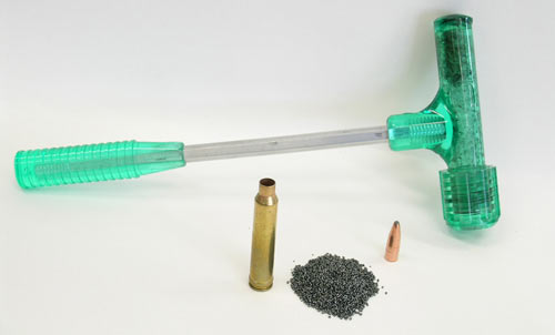 A kinetic bullet puller, like this RCBS model, will quickly and safely  convert center-fire cartridges into primed-only cases.