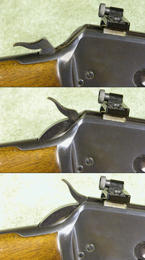 A Browning 92 demonstrates the three positions commonly found on guns  with external hammers; full-cock, half-cock (or safety position) and fully down.