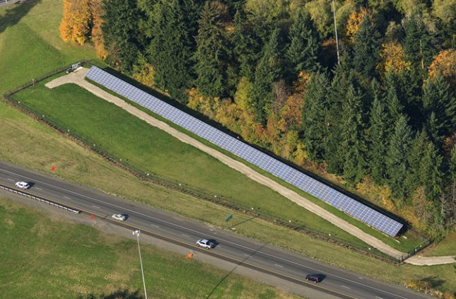 Solar arrays could be installed in the open land than runs alongs roads. Oregon Department of Transportatio